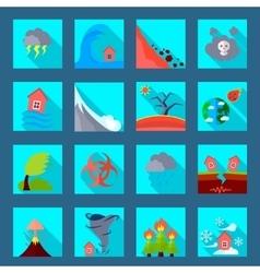Natural disaster flat icons set vector