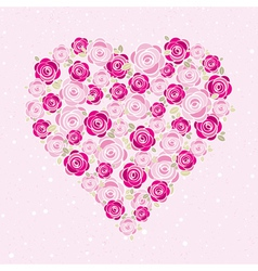 pink valentine heart with roses vector image vector image