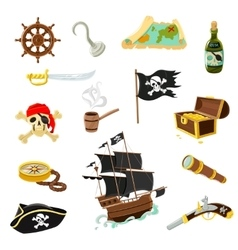 Pirate accessories flat icons set vector