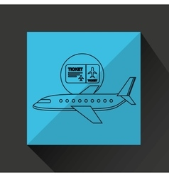 Plane white sun symbol travel ticket design vector