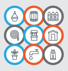 Set of 9 gardening icons includes garden clothes vector