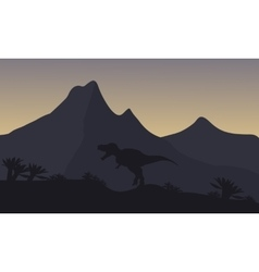 Silhouette of single brachiosaurus in mountain vector image