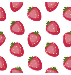 strawberry seamless pattern floral hand vector image vector image
