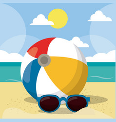 Summer beach design in the seashore with vector