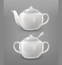 teapot and sugar bowl vector image vector image