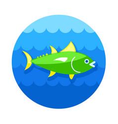 Tuna icon fishing vacation vector