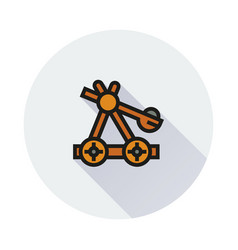 Wooden catapult icon on round background vector