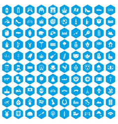 100 europe icons set blue vector