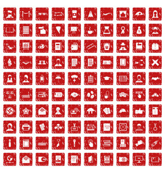 100 writer icons set grunge red vector