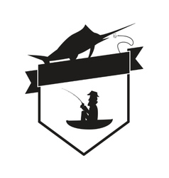Fishing emblem icon vector