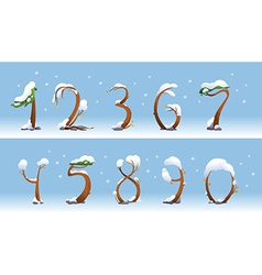 Winter trees number on white background vector