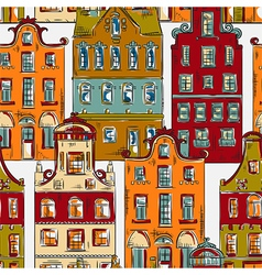 Amsterdam pattern with old historic buildings vector
