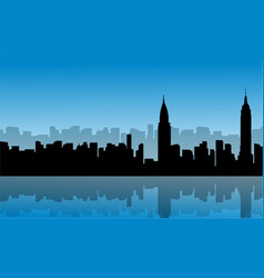 silhouette of building city scenery with vector image