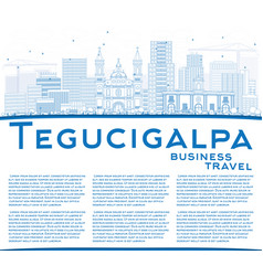 Outline tegucigalpa skyline with blue buildings vector