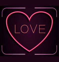 Neon red heart with inscription love on a pink vector