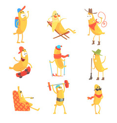 cute happy humanized bananas in different actions vector image
