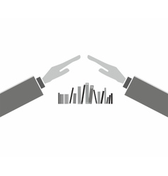 Books with hands vector