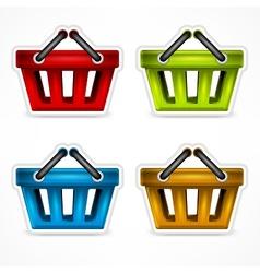 Shopping colour baskets vector image