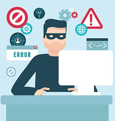 Hacker in flat style vector