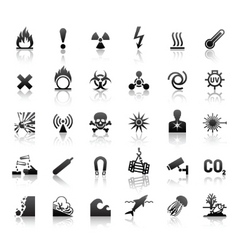 black symbols danger icons vector image
