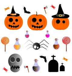 Halloween icons set party vector