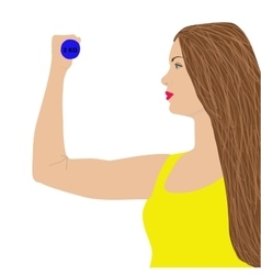 Portrait of young cute woman in fitness wear vector