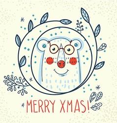 Polar Bear hipster inside a wreath of hand drawn vector image