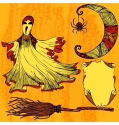 Halloween set with ghost moon broom scroll vector