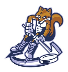 Fox ice hockey mascot vector