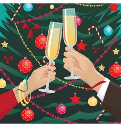 Couple clink glasses near christmas tree indoors vector