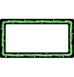 Rectangular rounded frame green neon graffiti tags vector
