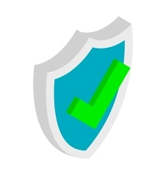 Shield with check mark icon isometric 3d style vector