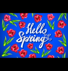 Fresh blue hello spring background with flowing vector