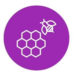Honeycomb and bee line icon vector