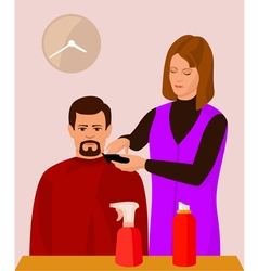 Hairdresser and her client vector