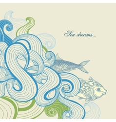Sea waves and fish vector image