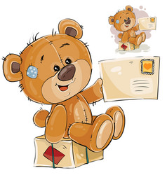 A brown teddy bear sitting vector