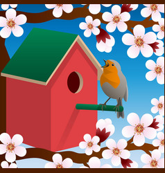 Bird near birdhouse blossoming spring tree vector