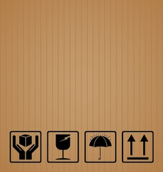 Black fragile symbol on brown cardboard vector image