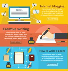 Blogging write banner horizontal set flat style vector