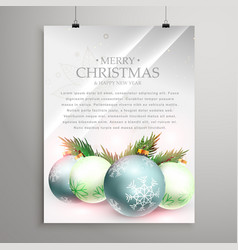Christmas greeting card template flyer with vector