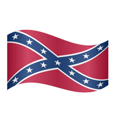 confederate rebel flag waving on white background vector image