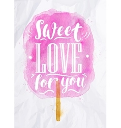 Cotton candy sweet love vector image