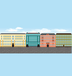 Europe city street set 4 multi-colored vector
