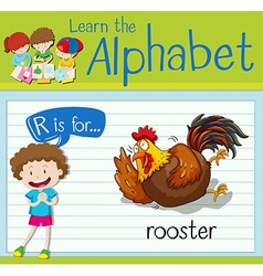 Flashcard letter R is for rooster vector image