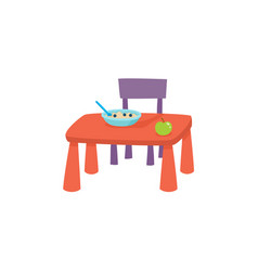 Flat cartoon baby table and chair vector