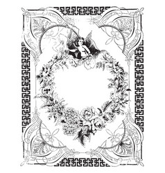 Flowers border have a angel sitting in heart in vector