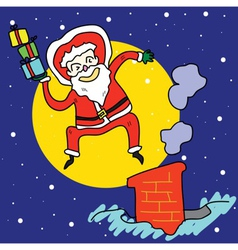 Funny santa jump over chimney under moonlight vector