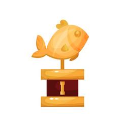 golden fish award fishing trophy statuette vector image