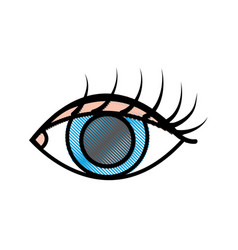 Grated vision eye with eyelashes style design vector